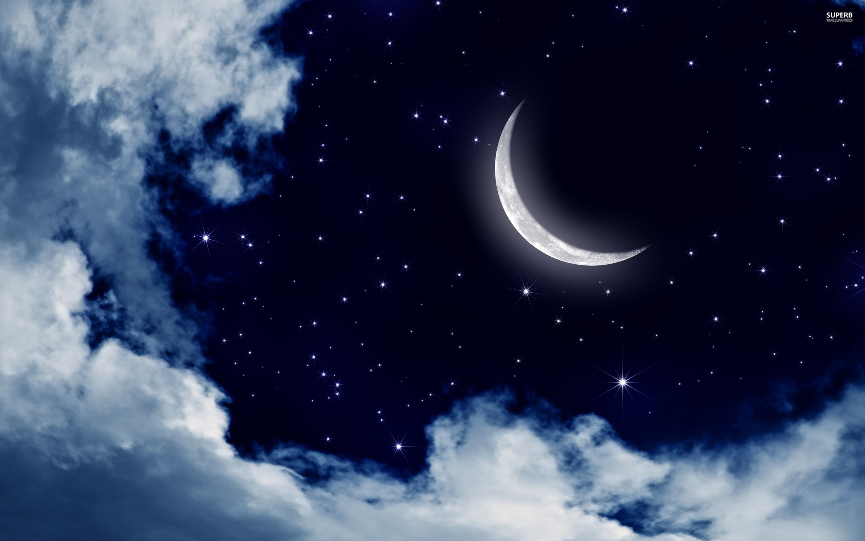 Moon And Stars In The Sky Digital Art Wallpaper Moon And Stars Wallpaper Star Wallpaper Sky Moon