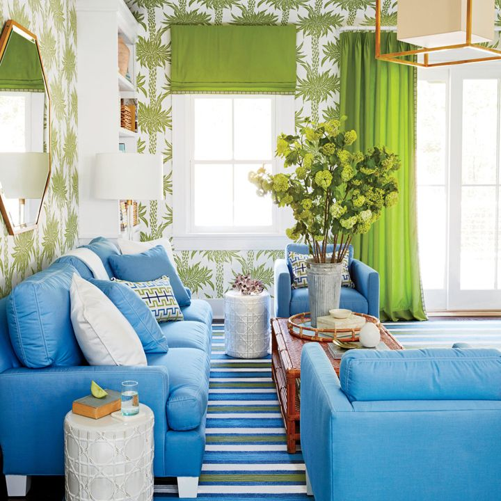 blue and green living room | 2016 Coastal Living Magazine Hamptons ...