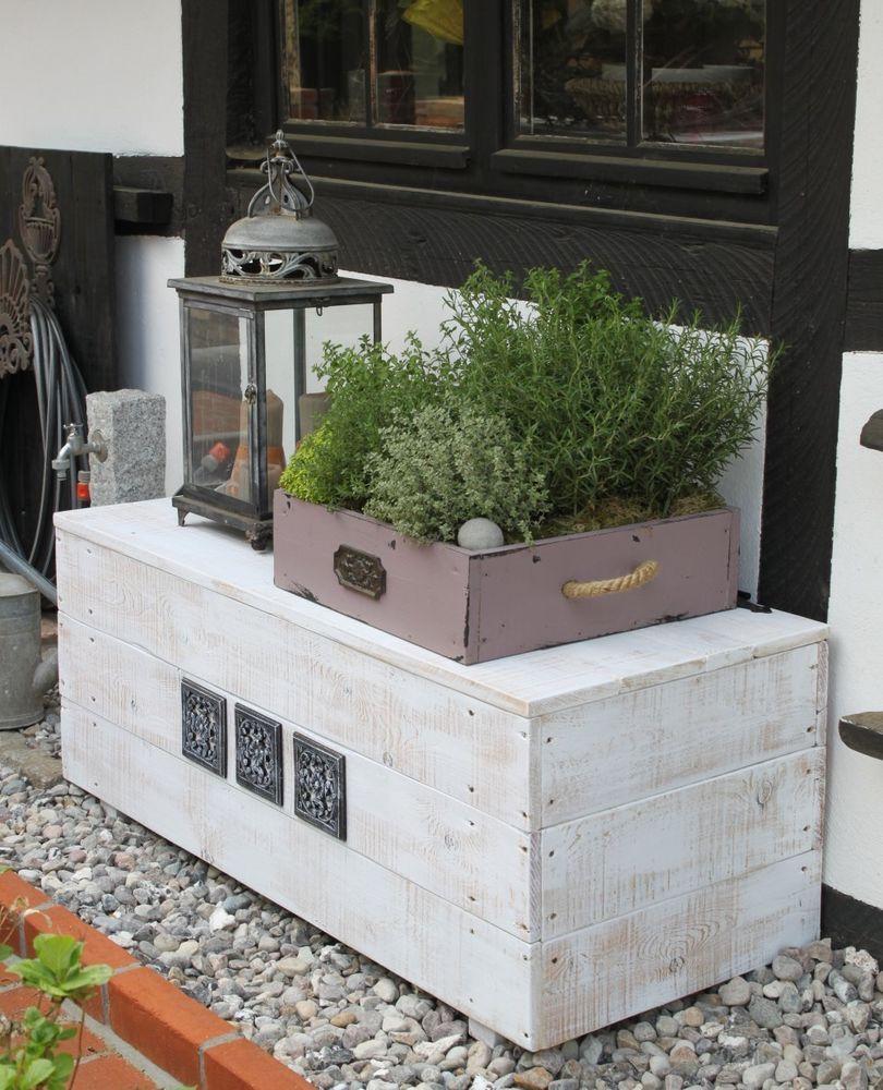 sitztruhe garten truhe holz gartenbank holzkiste kiste frachtkiste truhenbank in m bel wohnen. Black Bedroom Furniture Sets. Home Design Ideas