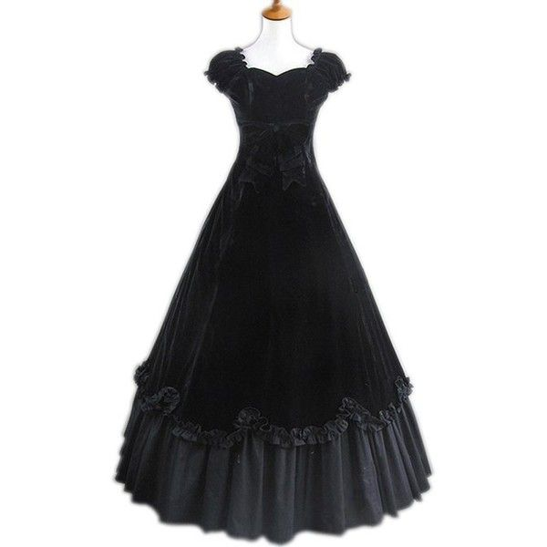 Robe Lolita Royale à Manche courte élégant Noir en Velvet Cosplay... ($93) ❤ liked on Polyvore featuring costumes, dresses, long dress, cosplay halloween costumes, role play costumes and cosplay costumes