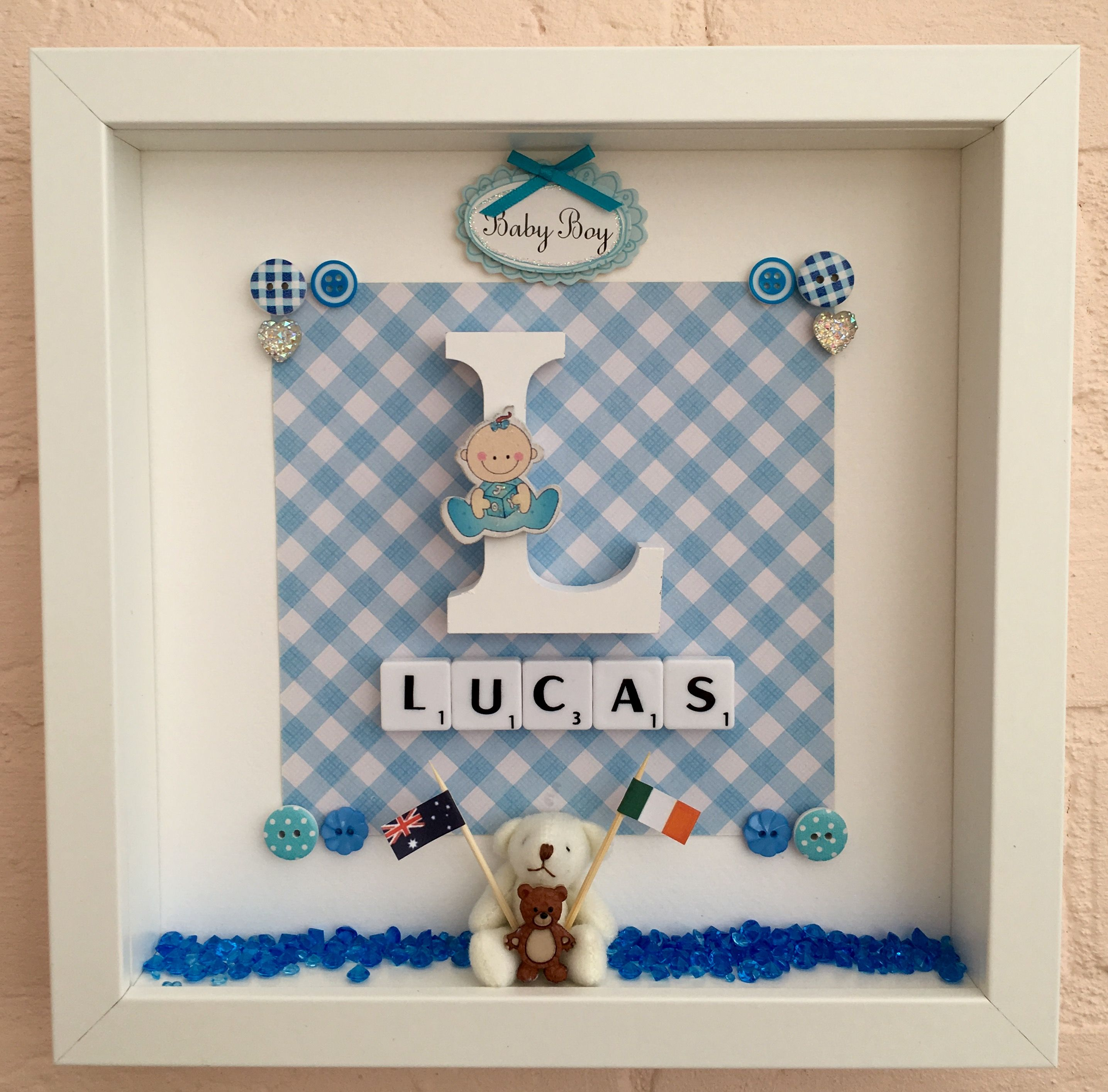 Pin by pdraign n scanlain on crafts pinterest crafts personalised christening gifts baby christening gifts baptism gifts personalised baby baby gifts name frame box frames teddy bear children s negle Images