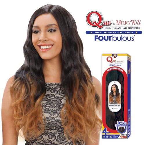 Milky Way Que Human Hair Blend Weave Fourbulous Radiance Wave Perfect Invisible Part Closure
