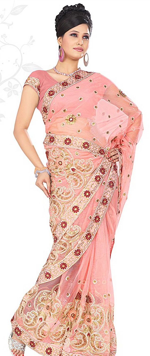 Pink Net Saree with Blouse | Recipes | Pinterest | Traje de novio ...