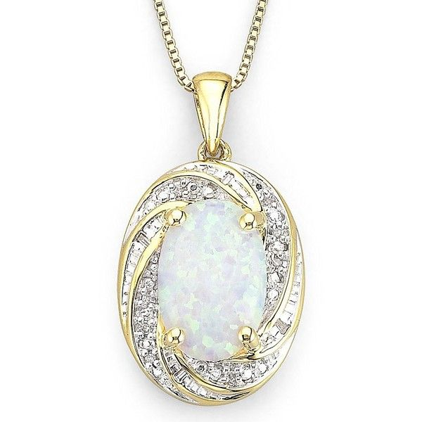 Lab-Created Opal Pendant with Diamond Accents Necklace ($250) ❤ liked on Polyvore featuring jewelry, necklaces, women, sparkle jewelry, lab jewelry, 14 karat gold pendants, 14k pendant and 14k jewelry
