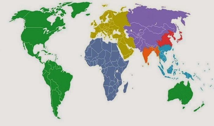 This map shows the world divided into 7 sections each with a this map shows the world divided into 7 sections each with a distinct color with each section containing one billion people gumiabroncs Choice Image