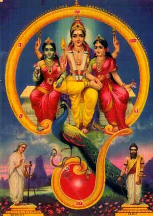 Muruga with consorts Deasena and Valli seated in the Aum
