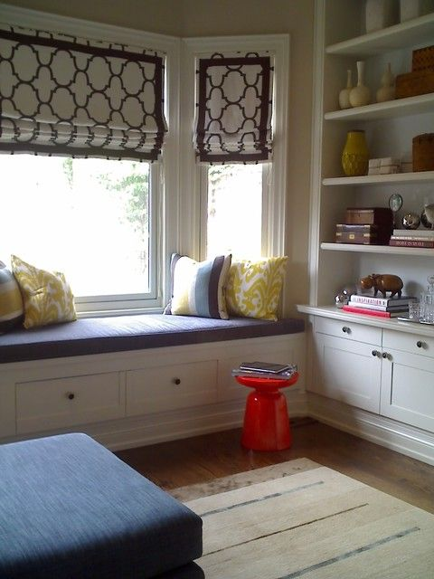 Bay Window w/built-ins. love colour scheme and blinds