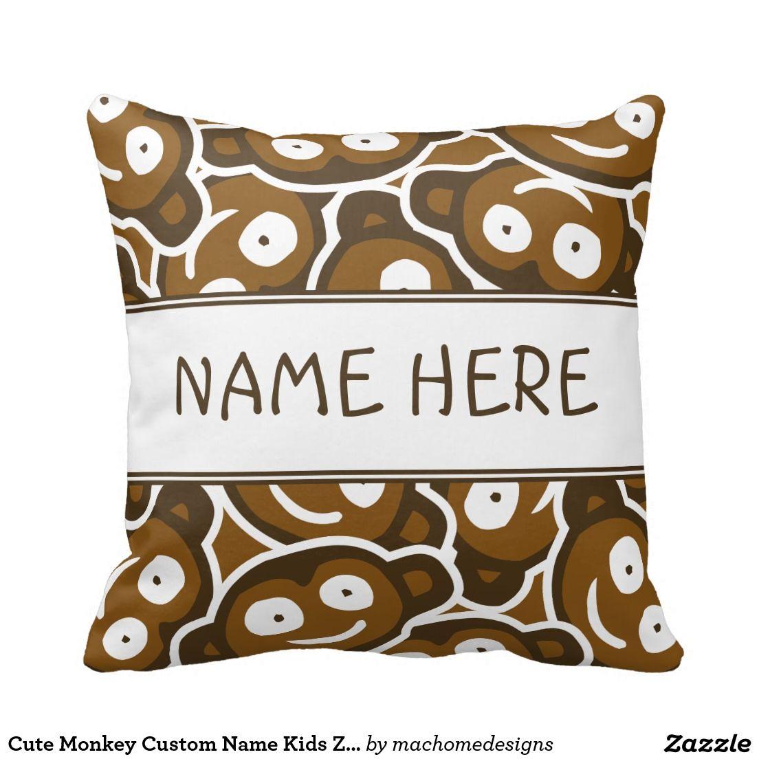 Cute monkey custom name kids zoo animals pillow monogrammed and
