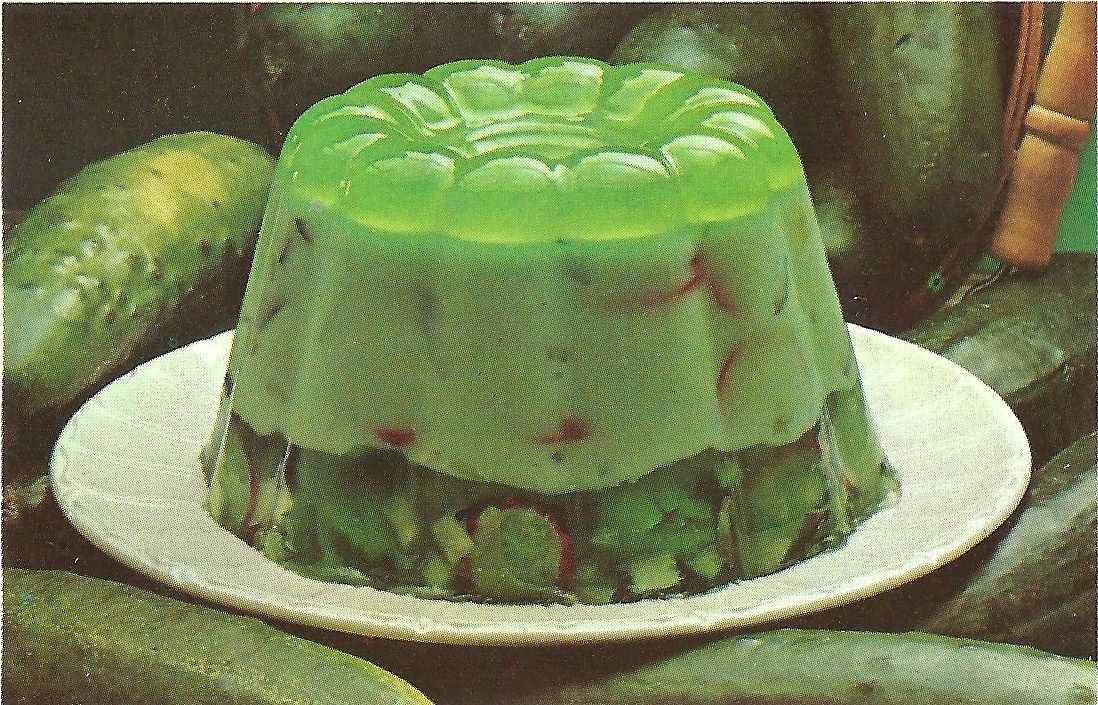 Girls painted like gelatin holding creepy gelatin green contacts the bad and ugly of retro food more molded salad and recipe card oddities forumfinder Images