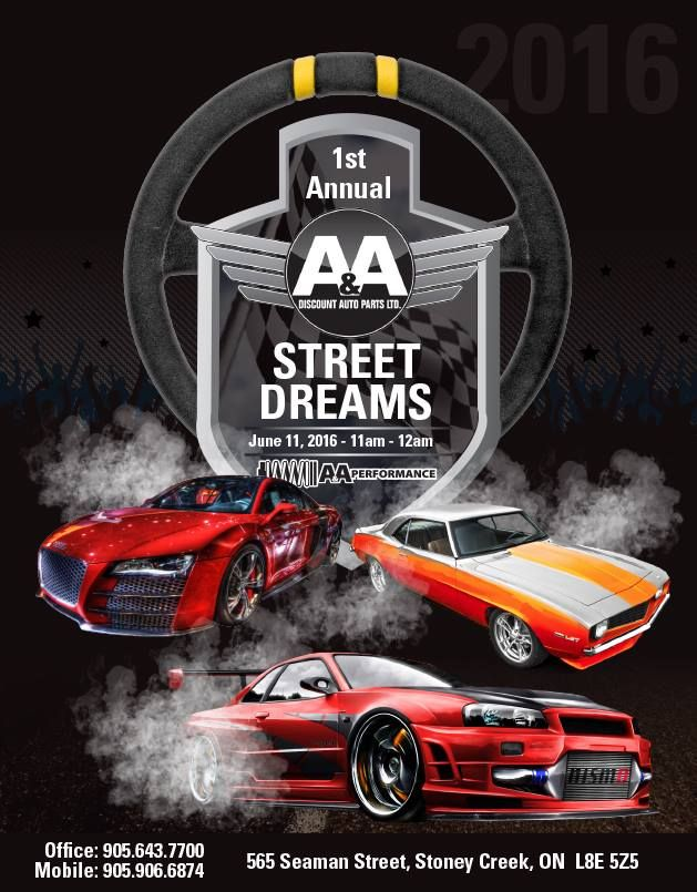 Spread the word about Street Dreams! Street Dreams 2016 is the biggest car show in Hamilton and Stoney Creek. This event is on June 11, 2016 from 11 AM - 12 AM. Street Dreams admission is $20.  #streetdreams #hamiltoncarshow #streetdreamsshow #hornymike #countskustoms #hamilton #hotrods #drift #imports #streetracing #performance #performancecars #classiccars #musclecars #cars