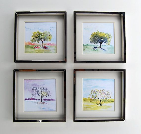 Four Seasons Art Watercolor Painting Wall Decor Spring Summer