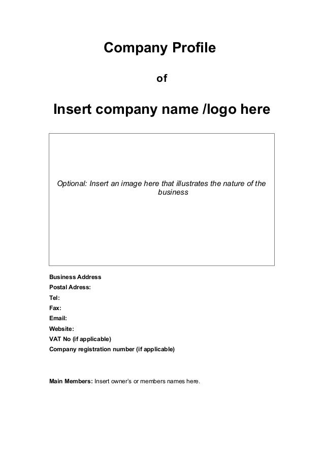 Company Profile of Insert company name /logo here Optional: Insert ...