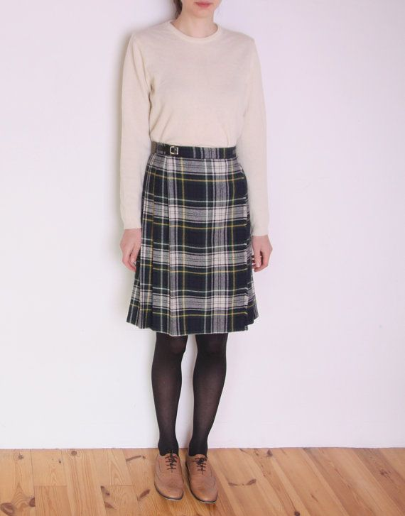 c11feaf03a 80's tartan wrap skirt checked midi skirt by WoodhouseStudios | Skirts