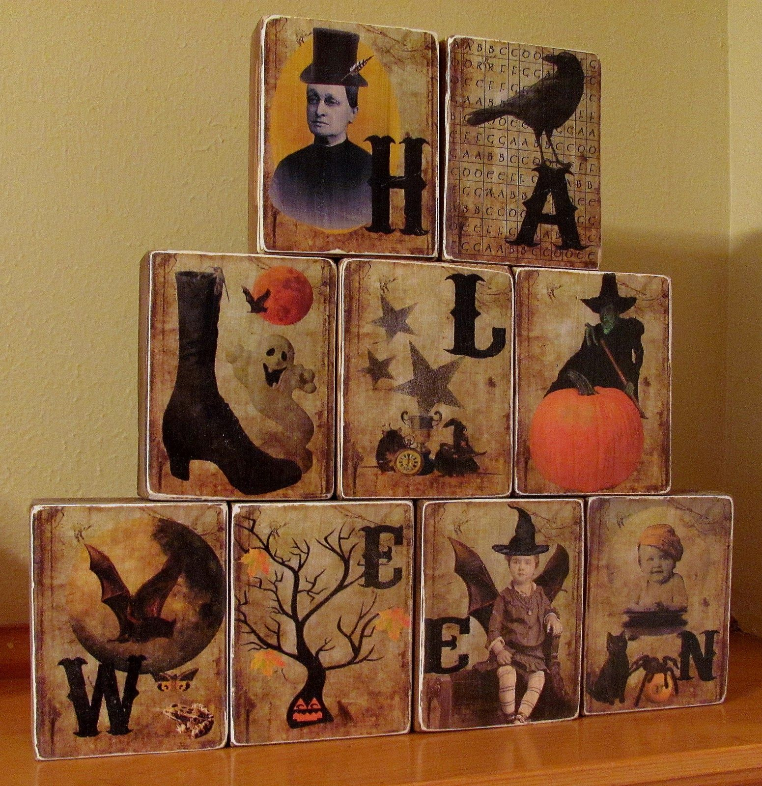 Tutorial Vintage Halloween Blocks How To