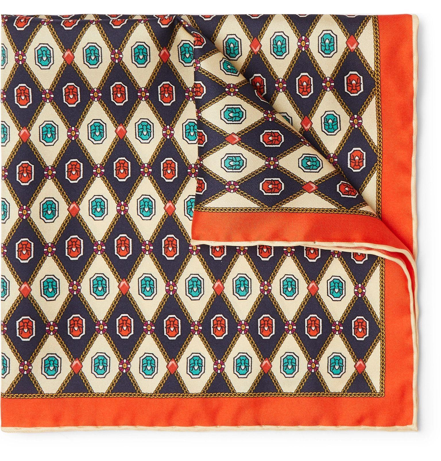 New Mens Bloomingdales Silk Wool Plum Medalion Print Handkerchief Pocket Square