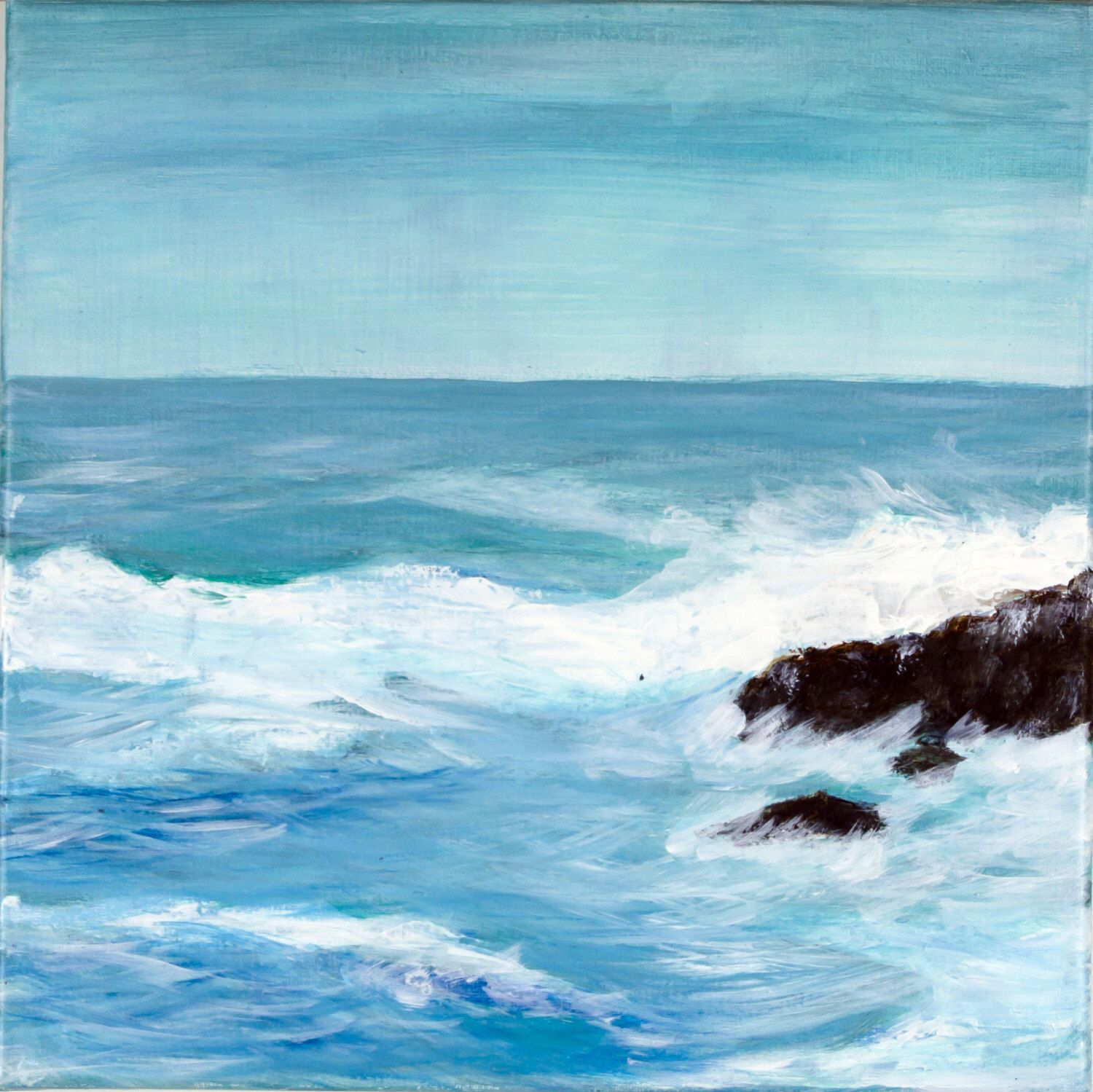 Canvas Painting Ocean Blue White Abstract Art