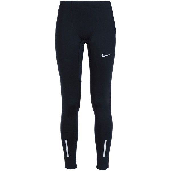 Nike Leggings (€57) ❤ liked on Polyvore featuring pants, leggings, black, nike leggings, black zipper pants, black trousers, black leggings and zipper pants