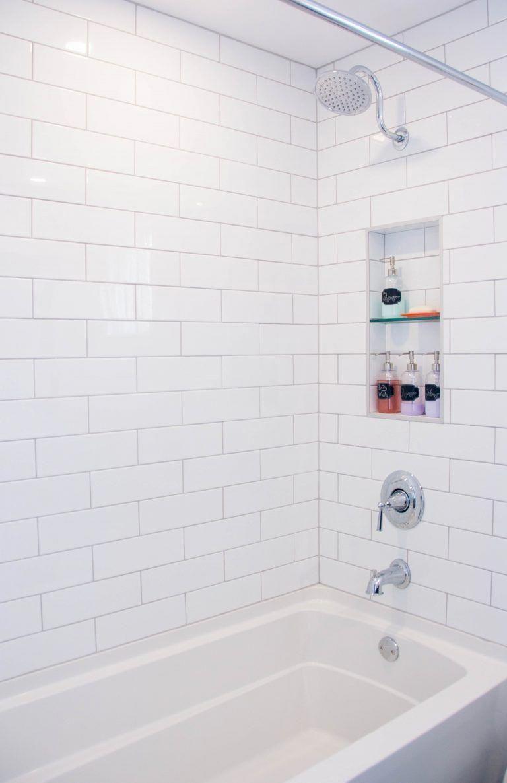 White Subway Tile Gooseneck Shower Niche Kohler Bathtub Bathroom