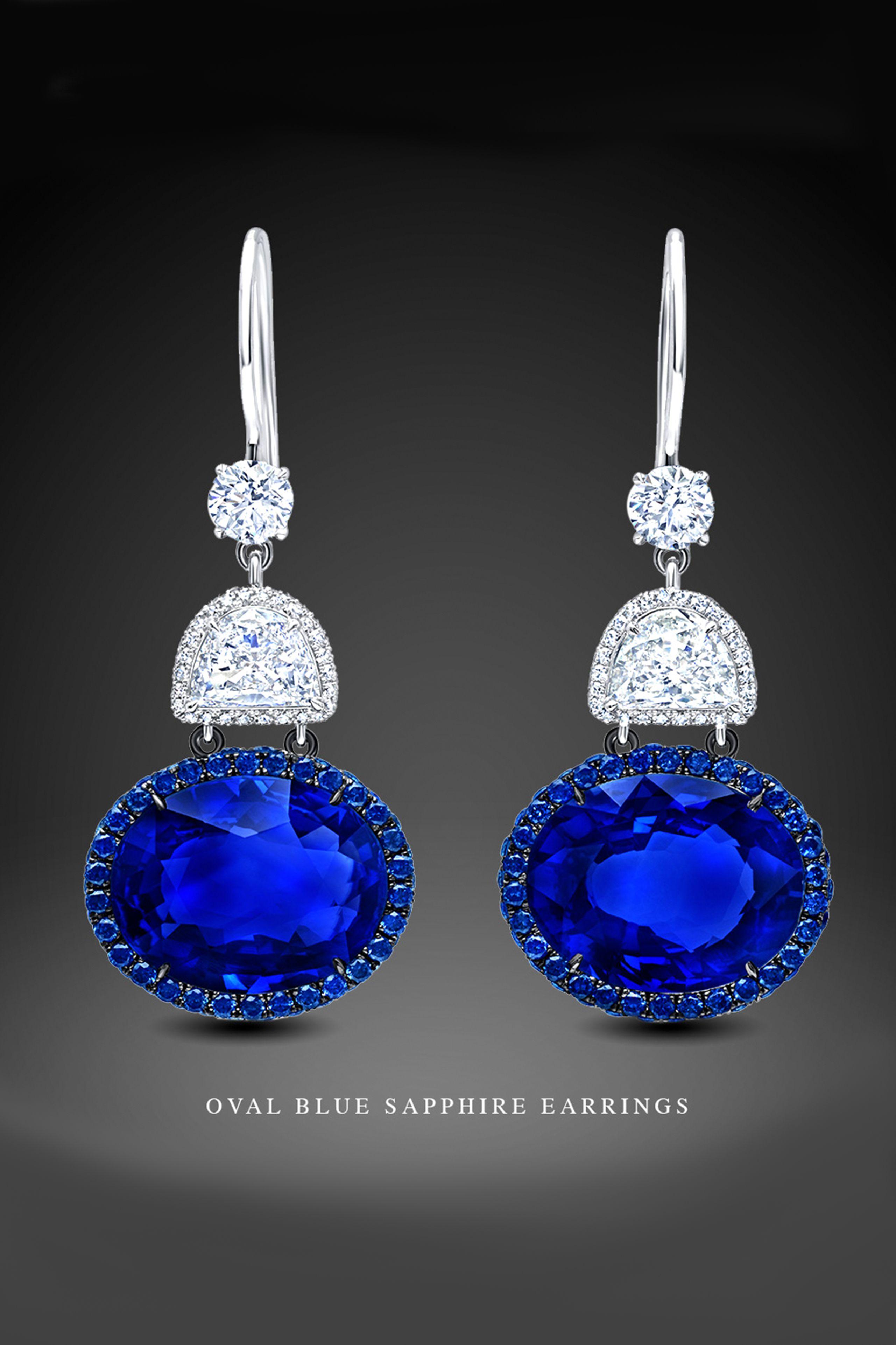 Martin Katz Blue Sapphire And Diamond Earrings Martinkatzjewels Blue Stones Jewelry Blue Sapphire Jewelry Jewelry