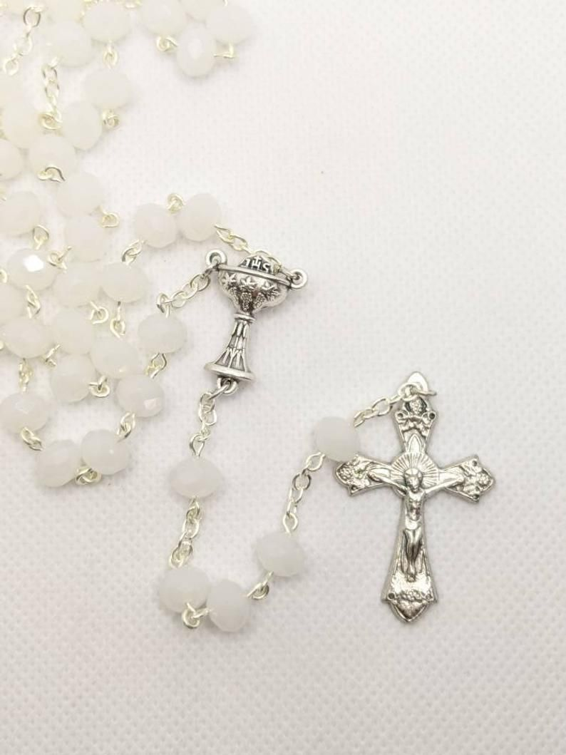 White glass bead Catholic rosary for First Communion or Rcia