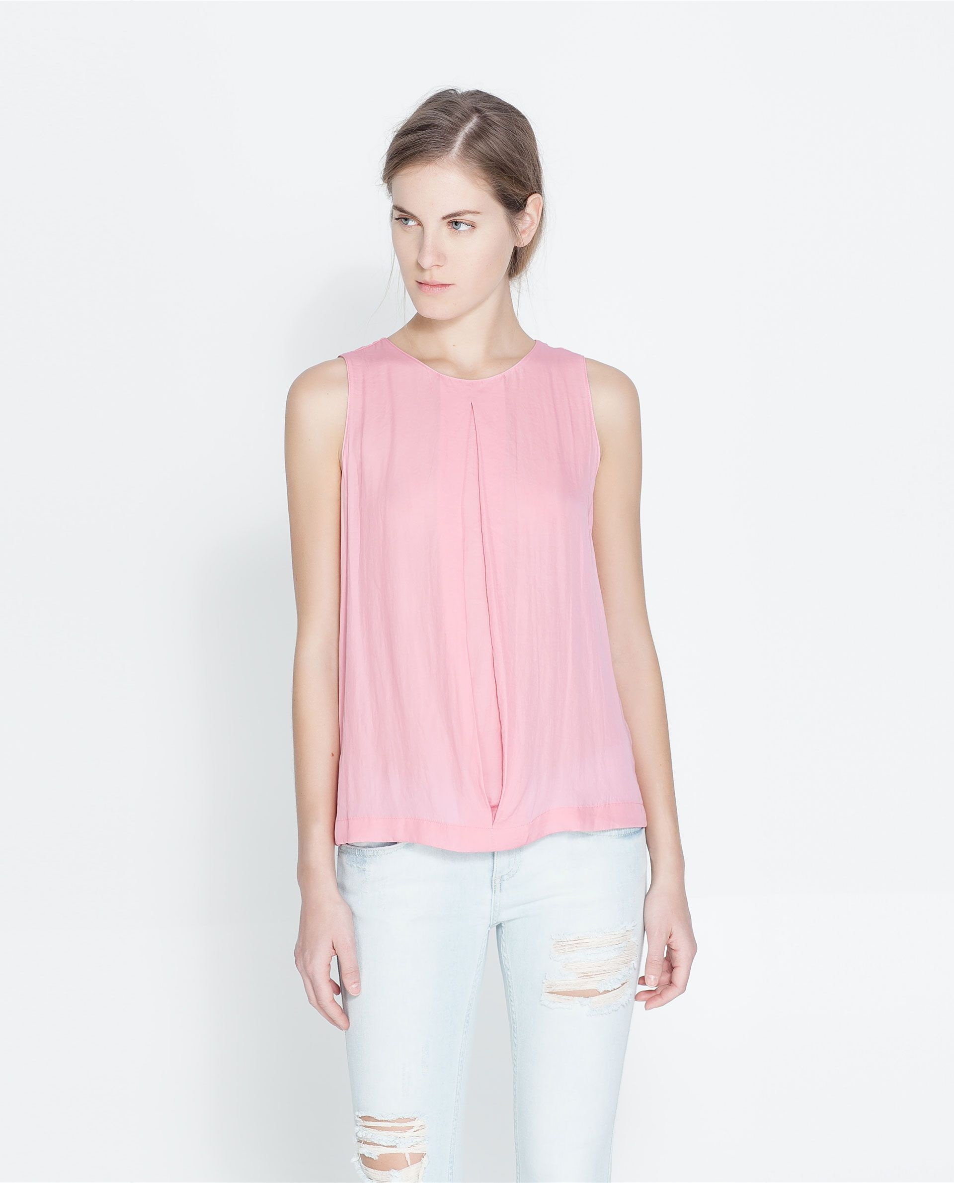 047bc40145d75 ZARA - WOMAN - BLOUSE WITH PLEAT DETAIL