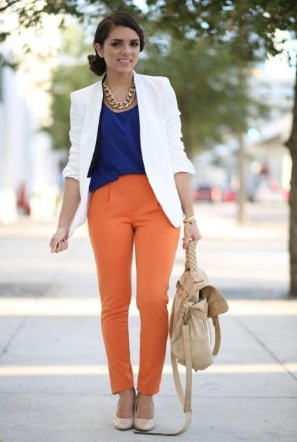 With Blue Blouse White Jacket Beige Shoes And Bag Spring Work Outfits Professional Outfits Work Attire