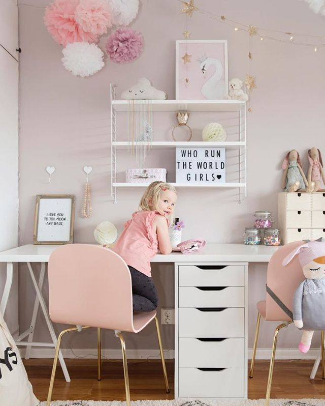 How cute is this little girl's room! String Pocket shelf and A4 Lightbox  are all
