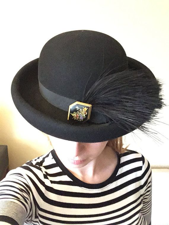 Women s Vintage Stetson Fifth Avenue Black Bowler Hat with  ddc7fcceff2
