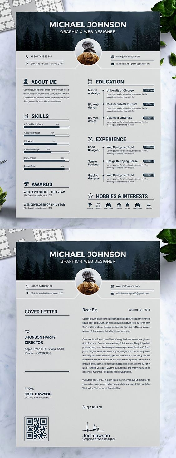 Resume Template with Headshot Photo + Cover Letter, 1 Page