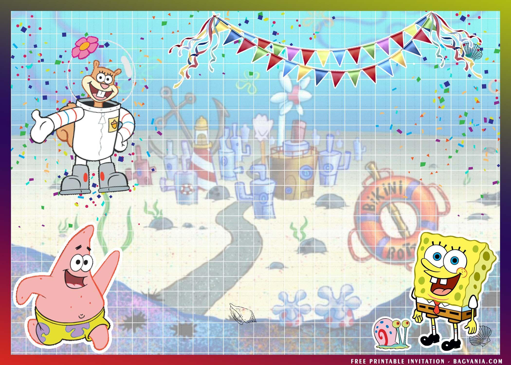 (FREE Printable) - Spongebob Squarepants Birthday Invitat ...