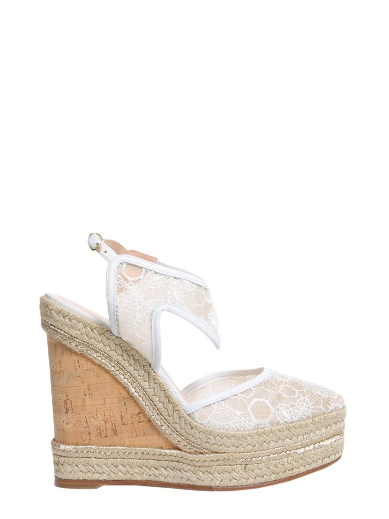 635cc5ef604 Woman Leda Leather-Trimmed Embroidered Mesh Wedge Espadrilles White ...