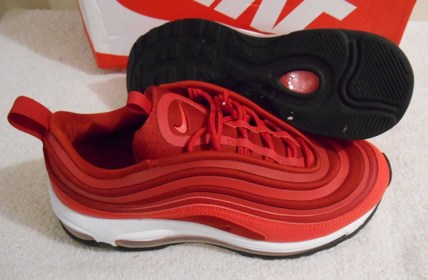 1a8bafec01 Women's Nike Air Max 97 Ultra '17 Gym Red Black Valentines Day Size 7  917704 601