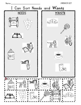 I Can Sort {NEEDS and WANTS} Picture Worksheet | Worksheets