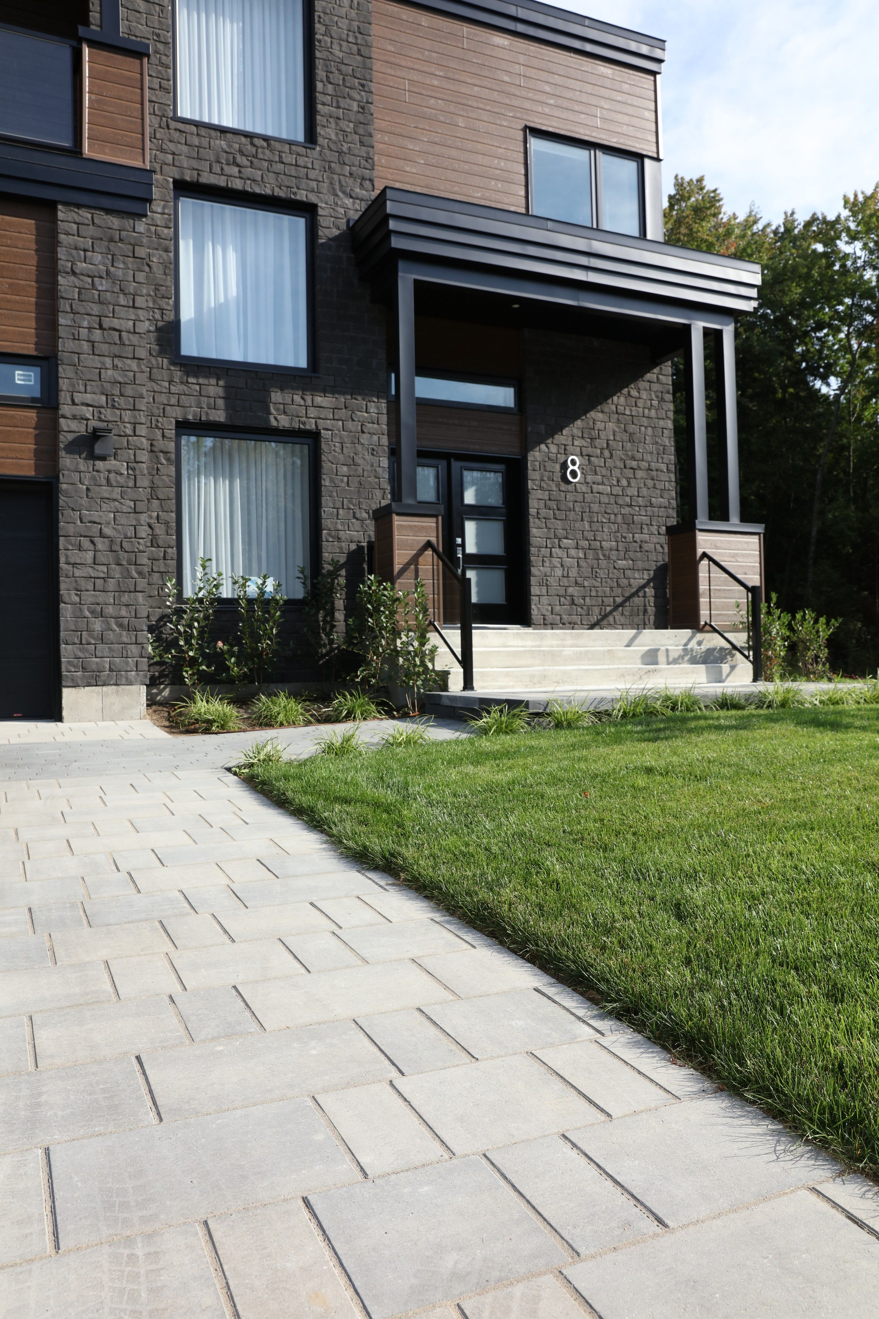 Contemporary Driveway Blu Permeable Pavers Are Perfect For This Modern