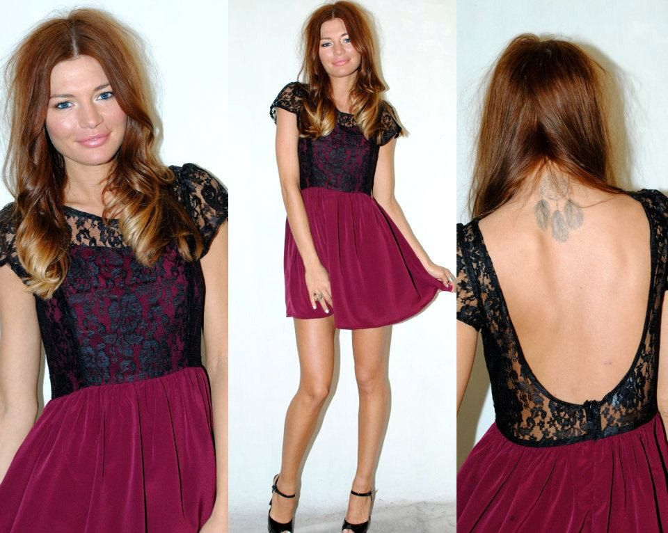 Burgundy and black lace detail scoop back dress HerPony by herpony