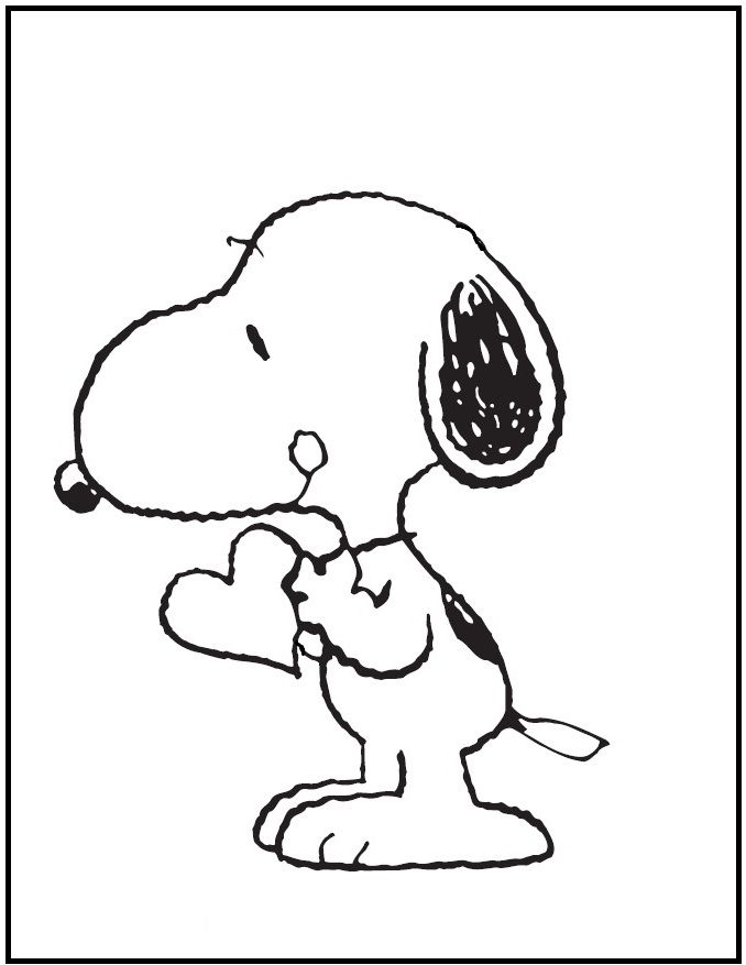 snoopy bring a heart coloring picture for kids - Snoopy Coloring Pages