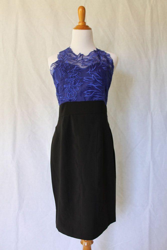 NoeMie NEW Black & Purple Organza Color Block Cocktail Dress Size 8 NEW NWOT #NoMie #Sheath #LittleBlackDress