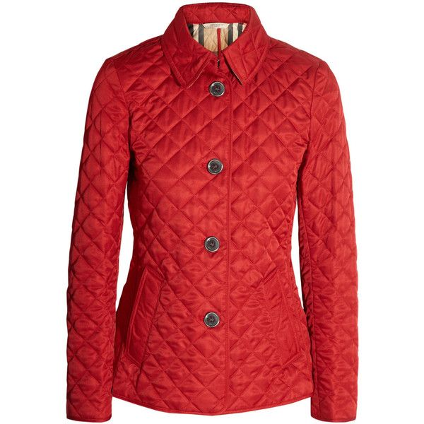 Burberry Brit Quilted matte shell jacket ($550) ❤ liked on Polyvore featuring outerwear, jackets, burberry, coats, red, quilted jacket, red quilted jacket, light weight jacket, burberry jacket and red jacket