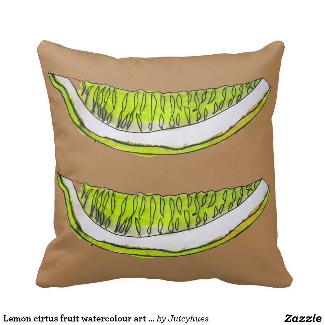 Lemon cirtus fruit watercolour art illustration pillow