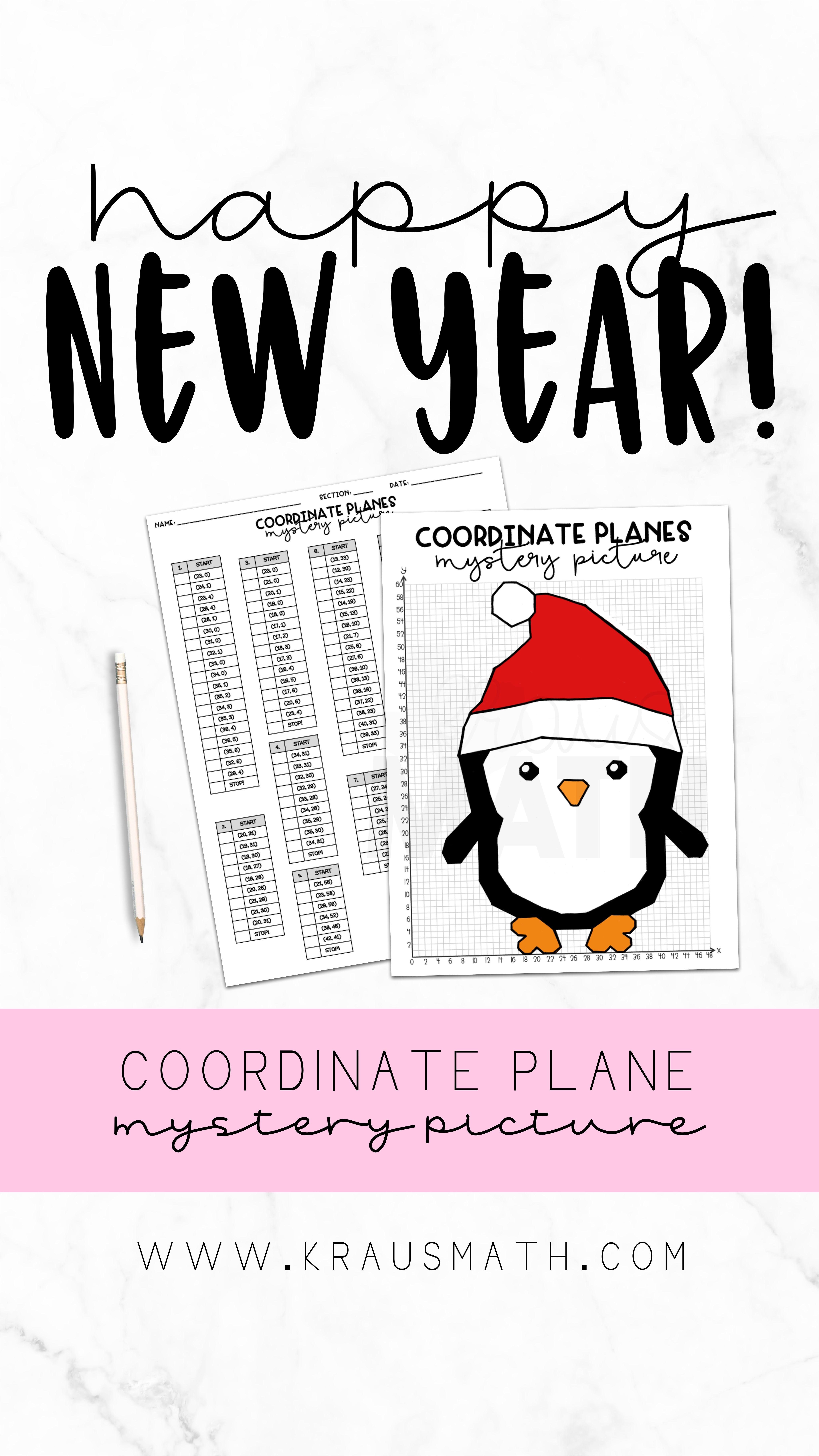 Winter Penguin Coordinate Plane Activity 1st Quadrant