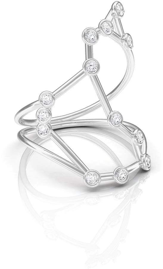 Jessie V E White Gold Scorpio Ring XLIJp2tj