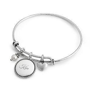 Personalized Silver Wire Charm Bangle With Free Keepsake Box, Add Your Message