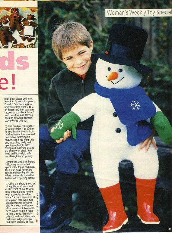 ALAN DART Mr Snow  Giant Snowman Toy Sewing by PatternaliaVintage