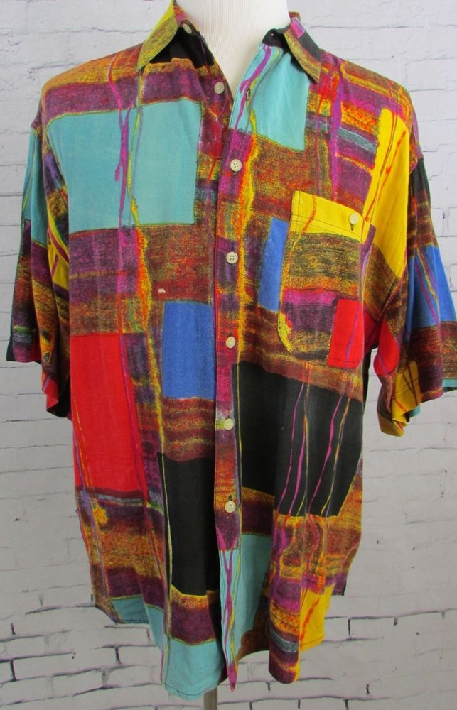 c196441e Men's Vintage Abstract Hip Hop Goouch Camp Shirt Size Large Rayon #Goouch  #ButtonFront
