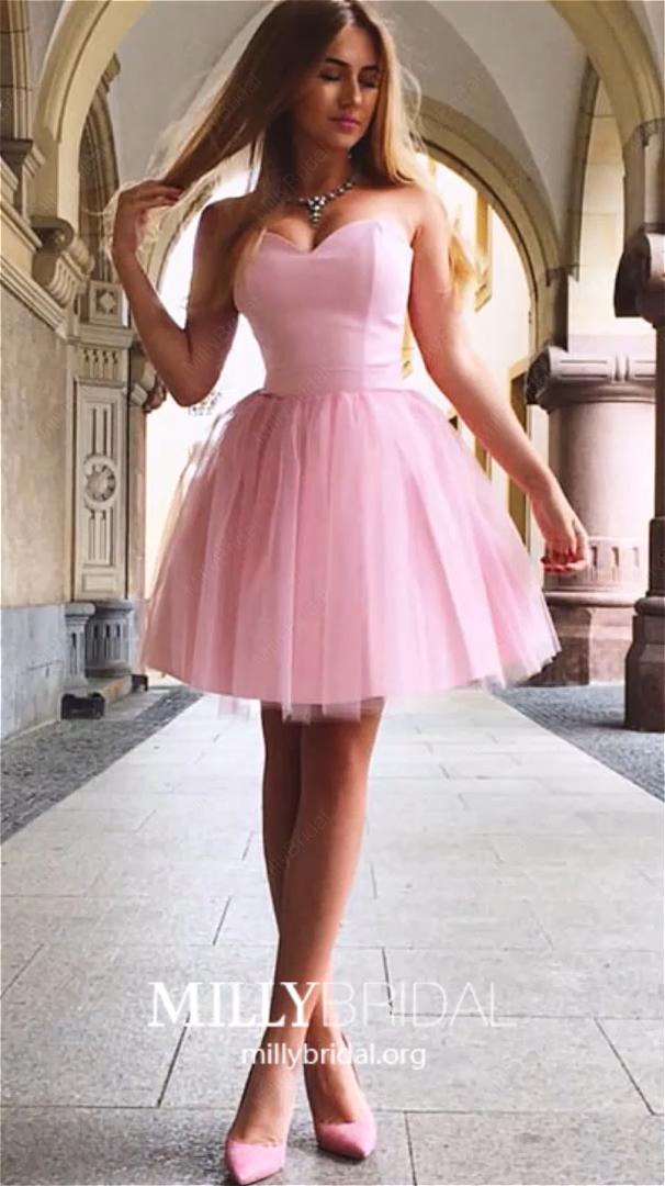 Photo of Kurze Heimkehr Kleider Rosa, Bescheidene Ballkleider Schatz, A-Linie Hochzeitsfeier Kleider Satin