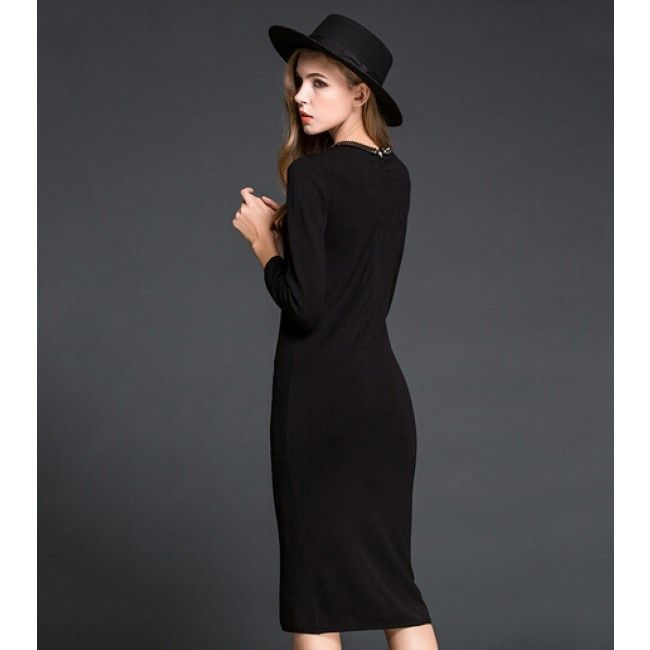 Fashion Collar Solid Color Long Sleeve Women's Bodycon Dress