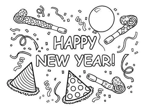Happy New Year 2021 Coloring Pages New Year Coloring Pages Birthday Coloring Pages Happy New Year Images