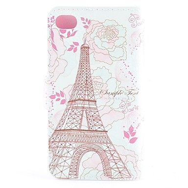 Tower Omgivet af Blooming Flowers Pattern PU læder Full Body Case med kort slot og Magnetic Snap til iPhone 4/4S – DKK kr. 38