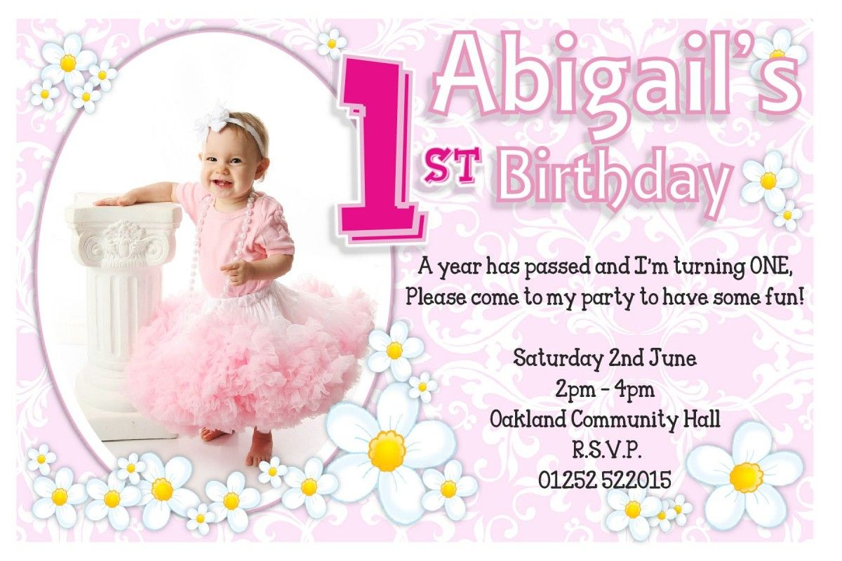 Baby Girl pink with flower Baby First Birthday Party Invitations ...