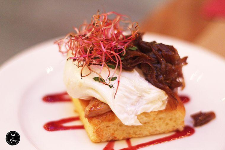 Sobao pasiego con huevo poché y foie - restaurante Saporem, Huertas, Madrid